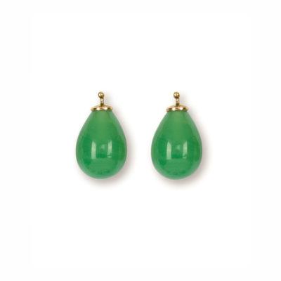Quarztropfen Einhänger Jadegrün Gold