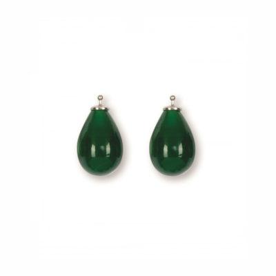 Quarztropfen Einhänger Turmalin Grün Silber