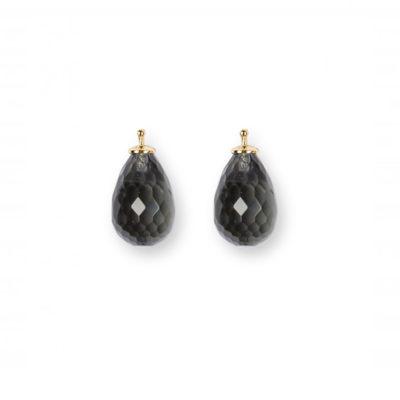 Einhänger Quartz Briolett-Tropfen Black Diamond Gold