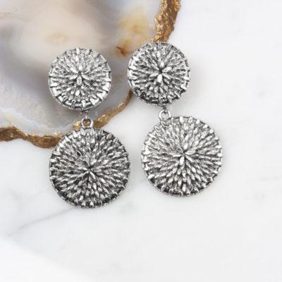 Ohrclip Dandelion Double Silber