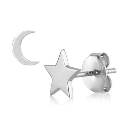 Ohrstecker Mond-Stern Silber