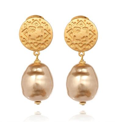 Ohrclip Maya Perle Champagner Gold