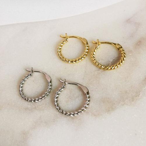 Fourth-Dimension-Creole-Mini-Gedreht-Gold-Silber