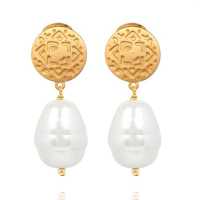 Ohrclip Maya Perle Weiß Gold