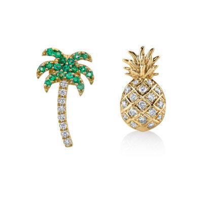 Ohrstecker Palme und Ananas Gold