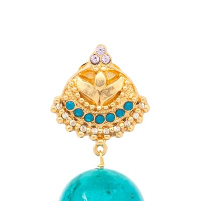 Ohrhänger Divari Kugel Howlith Türkisfarbig Gold