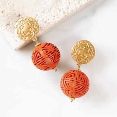 Ohrclip Maya Lampion Orange Gold