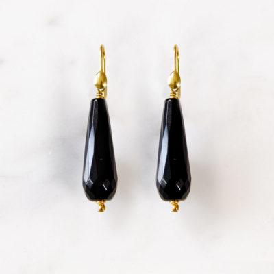 Ohrhänger Lena Schwarzer Onyx Gold