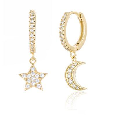 Creole Mond Stern Zirkonia Gold