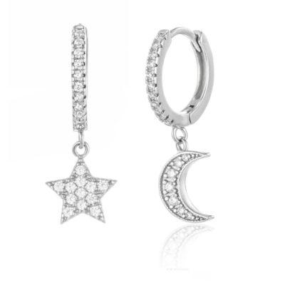 Creole Mond Stern Zirkonia Silber