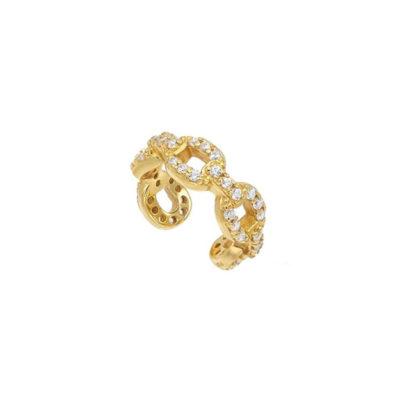Cuff Chain Zirkonia Gold