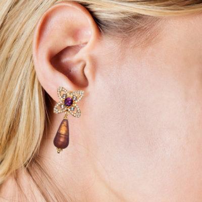 Ohrhänger Lavinia Muranoglas Violett