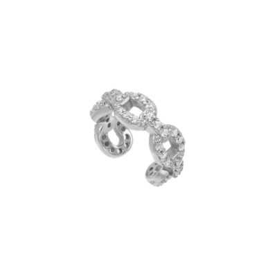 Cuff Chain Zirkonia Silber