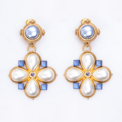 Ohrclips Johanna Vintage Perle Blau
