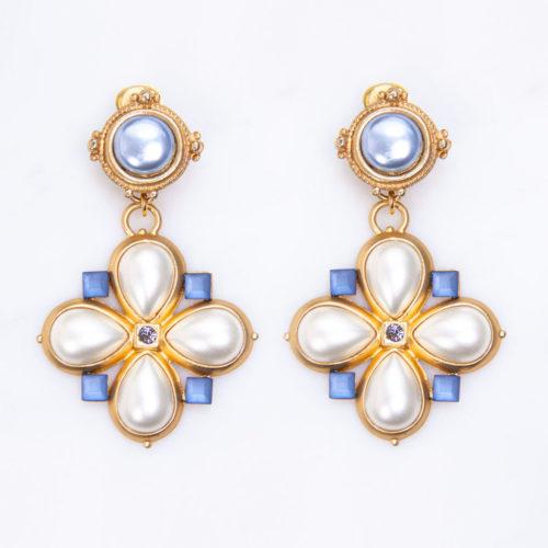 Ohrclips-Johanna-Vintage-Perle-Blau-1