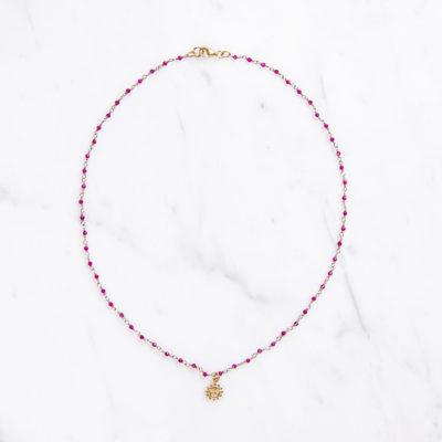 Halskette Solana Edelstein Pink Sonne