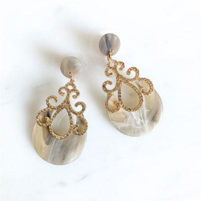 Ohrring Yvette Gold Grau Meliert