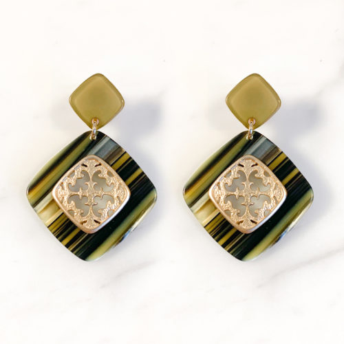 Fourth-Dimension-Ohrring-Gold-Silber-Schmuck-Muenchen-Gruen-meliert-raute-ornament