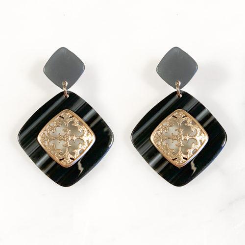 Fourth-Dimension-Ohrring-Gold-Silber-Schmuck-Muenchen-grau-meliert-schildpatt-raute-ornament