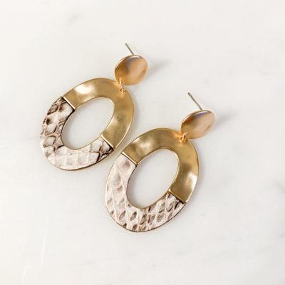 Ohrring Bianca Gold Grau Weiß