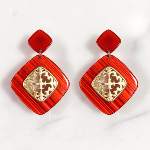 Fourth-Dimension-Ohrring-Gold-Silber-Schmuck-Muenchen-rot-meliert-schildpatt-raute-ornament