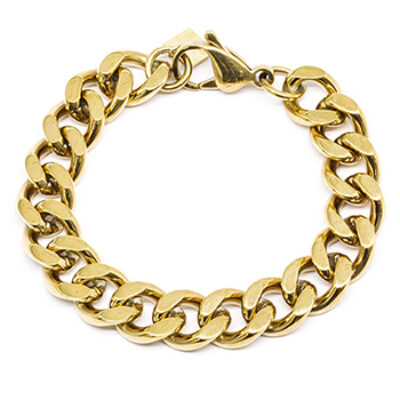 Armband Flachpanzerkette Gold