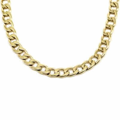 Halskette Flachpanzerkette Lang Gold